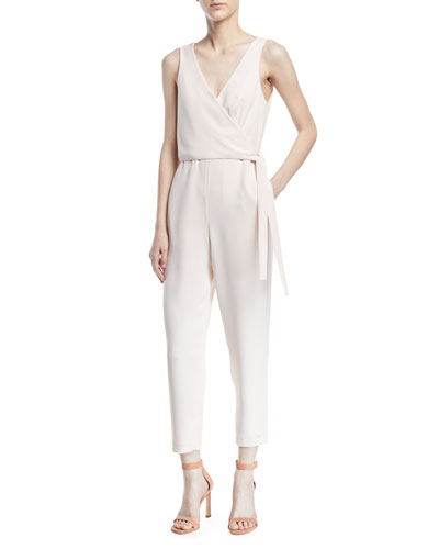 Gressah Sleeveless Tie-Waist Straight-Leg Jumpsuit