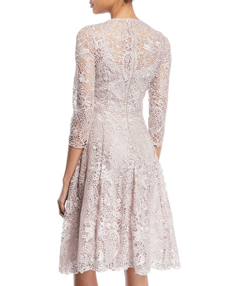 Long-Sleeve Lace Fit-and-Flare Cocktail Dress