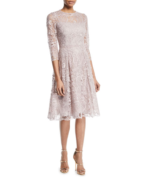 Rickie Freeman for Teri Jon Long-Sleeve Lace Fit-and-Flare