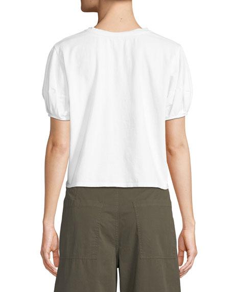 Ayla Crewneck Puff-Sleeve Cotton Top