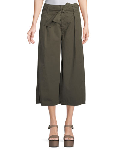 Arisa Wide-Leg Crop Cotton-Twill Pants