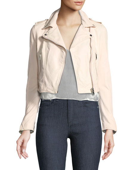 LaMarque Gigi Cropped Lamb Leather Moto Jacket