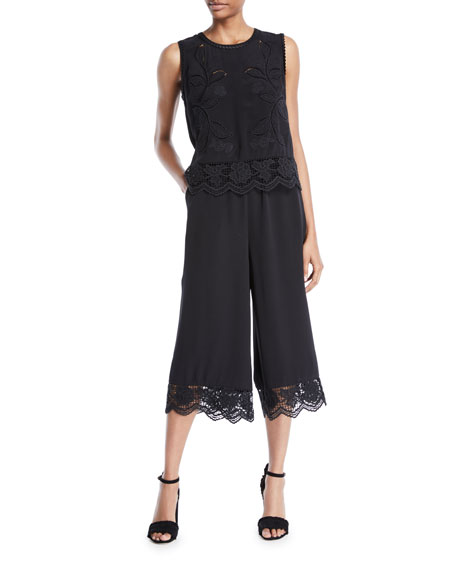 Shiloh Lace-Trim Cropped Jumpsuit