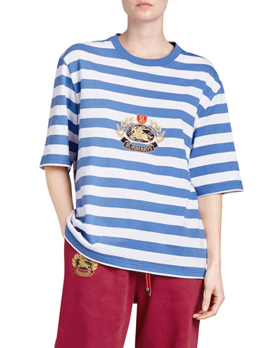 Striped Crest-Embroidered T-Shirt