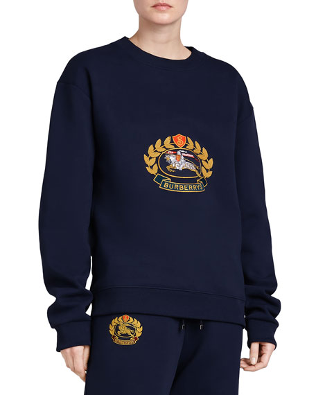 Copes Crewneck Logo Crest Sweatshirt, Dark Blue