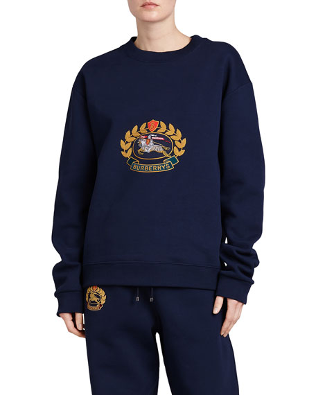 Burberry Copes Crewneck Logo Crest Sweatshirt, Dark Blue