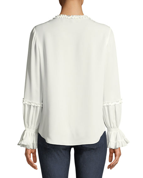 Tatiana Lace-Trim Silk Blouse