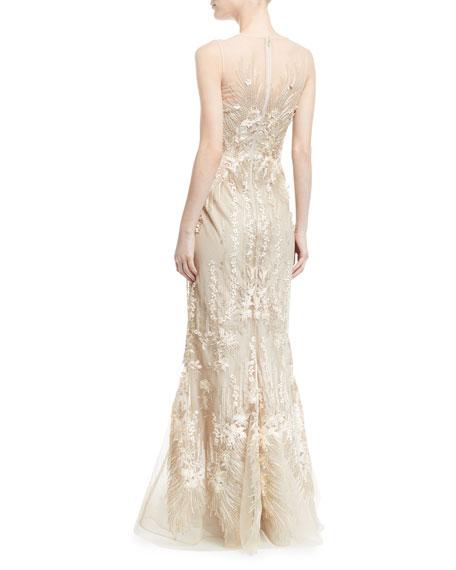 Sleeveless Mesh Illusion Mermaid Gown