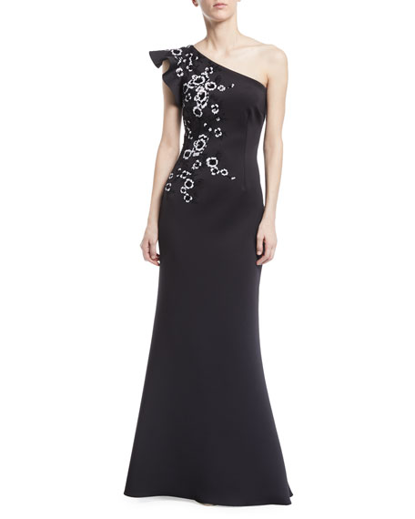One-Shoulder Ruffle Floral Appliqué Gown