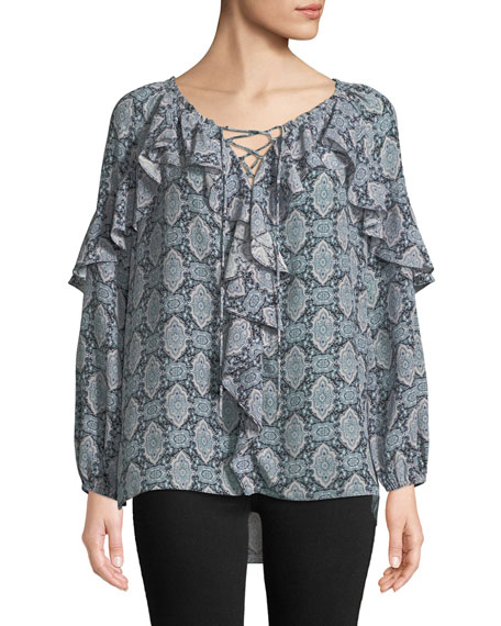 Tami Medallion-Print Silk Blouse