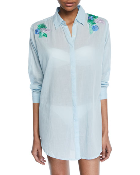 Button-Front Long-Sleeve Cotton Coverup Beach Shirt