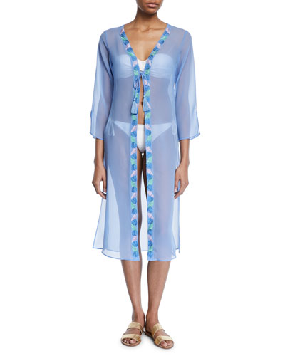 Long-Sleeve Tie-Front Georgette Coverup