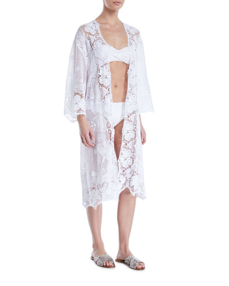 Mia Open-Front Lace Swim Coverup