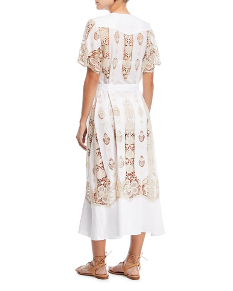 Coraline Button-Down Cotton Coverup Maxi Dress w/ Lace