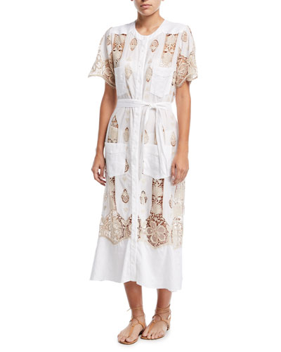 Coraline Button-Down Cotton Coverup Maxi Dress w/ Lace