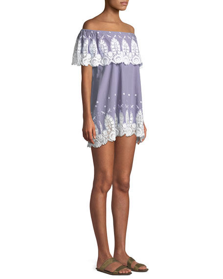 Agnes Dragonfly Roselle Off-the-Shoulder Embroidered Cotton Mini Dress