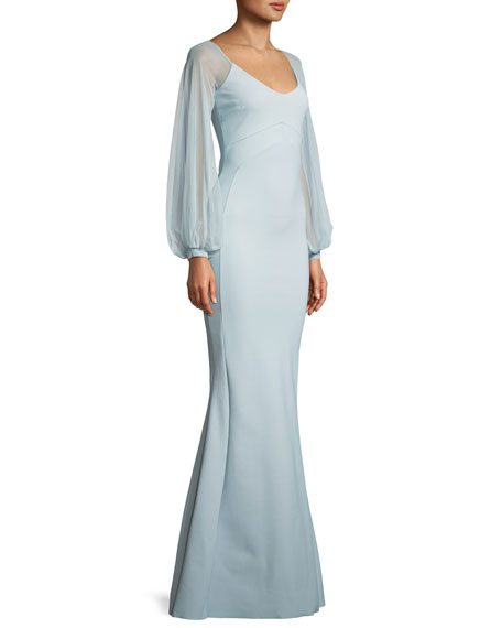 Marlo Illusion-Sleeve Mermaid Gown