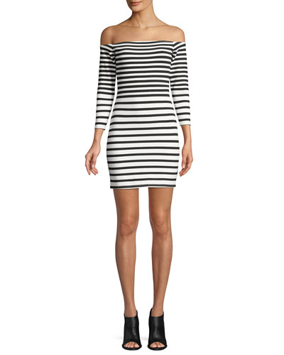 Fira Off-the-Shoulder Long-Sleeve Striped Mini Dress