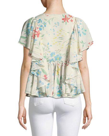 Jojo Floral-Print Ruffle Top