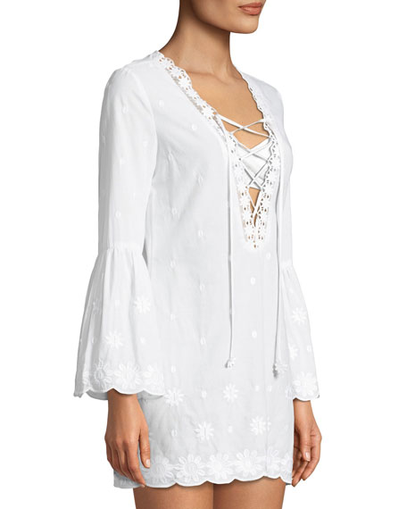 Laure Daisy Embroidered Cotton Coverup