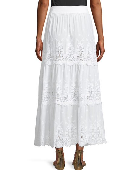Carina Embroidered Tiered Lace Maxi Skirt
