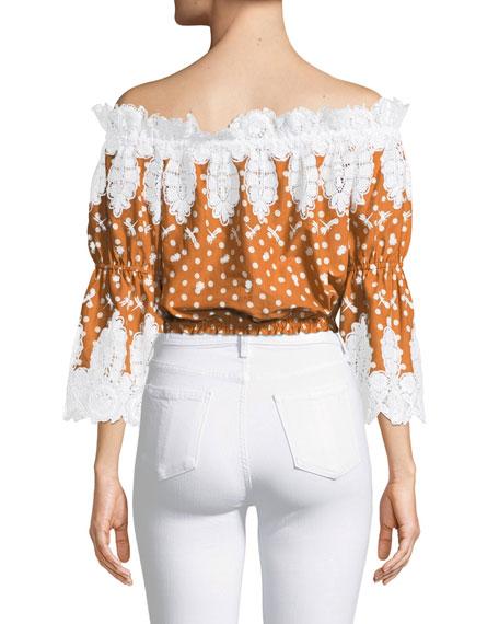 Ari Dot-Print Lace Off-Shoulder Top