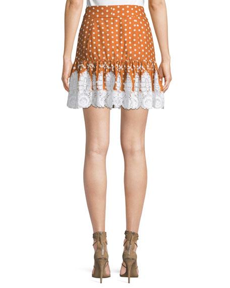 Emy Dot-Print Broderie Anglaise Flounce Skirt