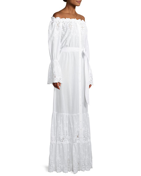 Damia Off-Shoulder Embroidered Cotton Maxi Dress
