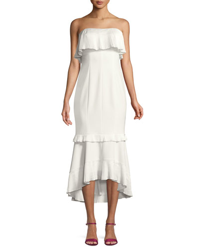 Strapless High-Low Mermaid Midi Cocktail Dress
