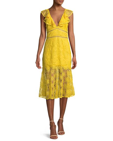V-Neck Circle Embroidery Cotton Midi Dress
