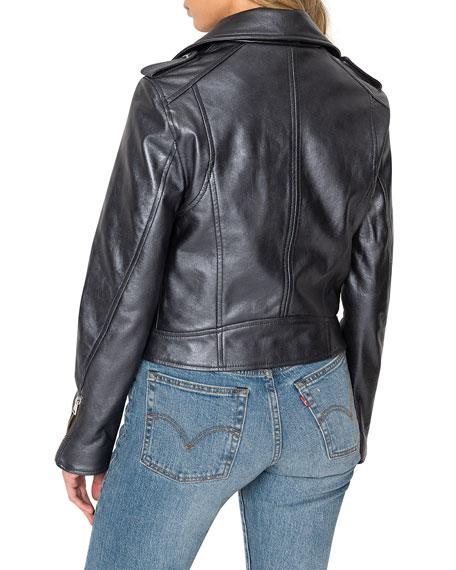Donna Metallic Leather Biker Jacket