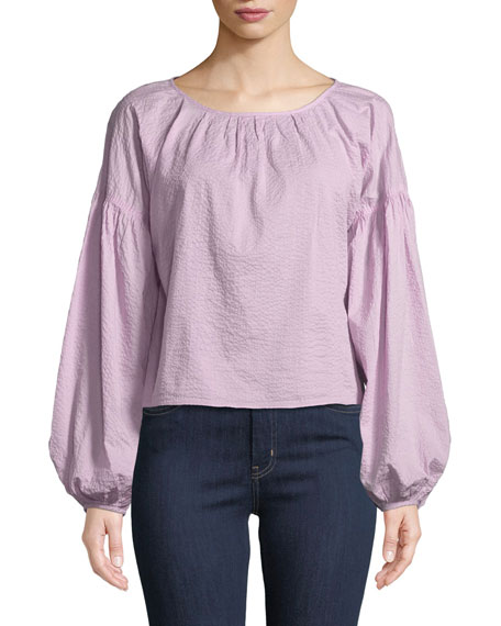 Anneke Balloon-Sleeve Textured Cotton Top