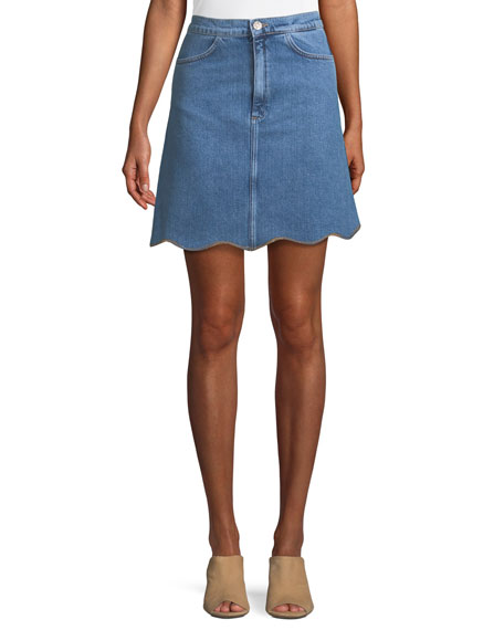 MiH Lennie A-Line Scalloped-Hem Denim Skirt