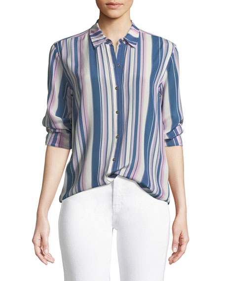 MiH Simple Long-Sleeve Button-Down Striped Silk Shirt