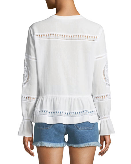 Romney Button-Down Long-Sleeve Cotton Voile Top w/ Macramé Trim