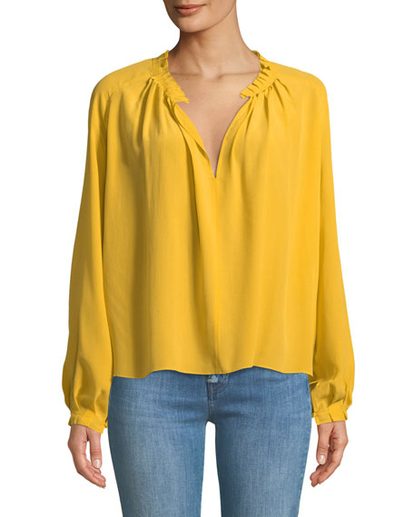 Sidi Split-Neck Long-Sleeve Silk Top