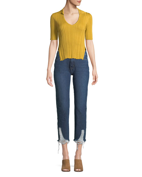 Cult Mid-Rise Four-Pocket Straight-Leg Jeans