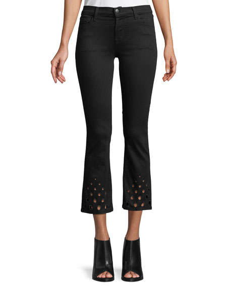 Selena Mid-Rise Crop Boot Jeans w/ Cutout Detail