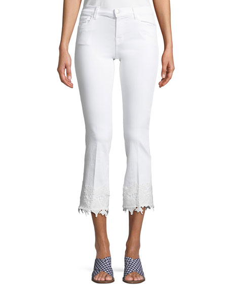 Selena Mid-Rise Crop Boot Jeans with Lace Hem