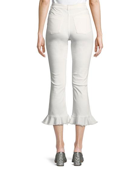 Zoe Ruffled-Hem High-Rise Kick-Flare Ankle Jeans