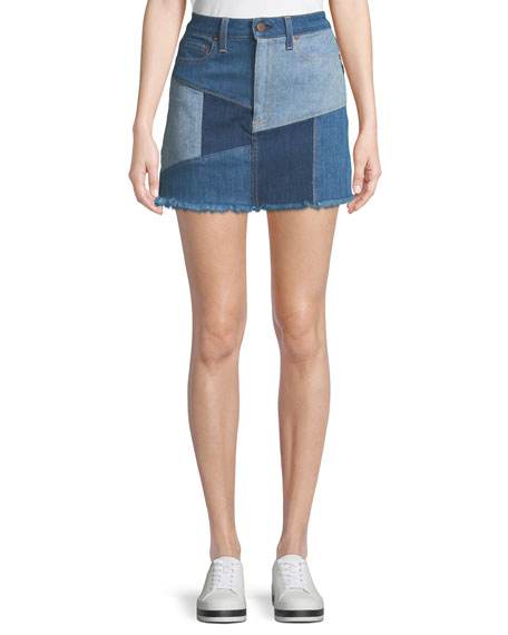 AO.LA by Alice+Olivia Patchwork Denim Mini Skirt