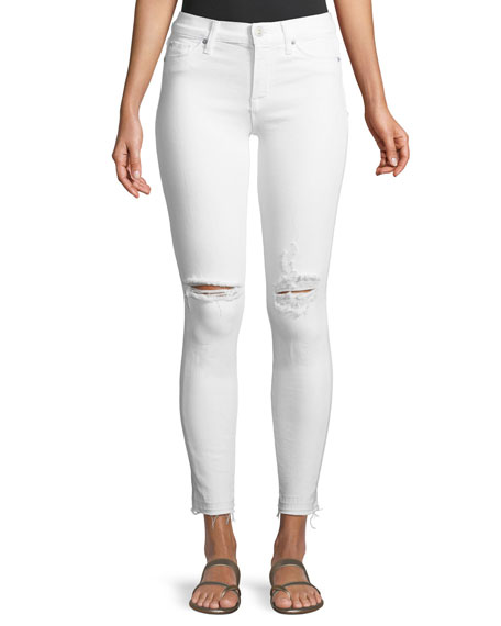 Hudson Nico Mid-Rise Skinny Ankle Jeans with Raw