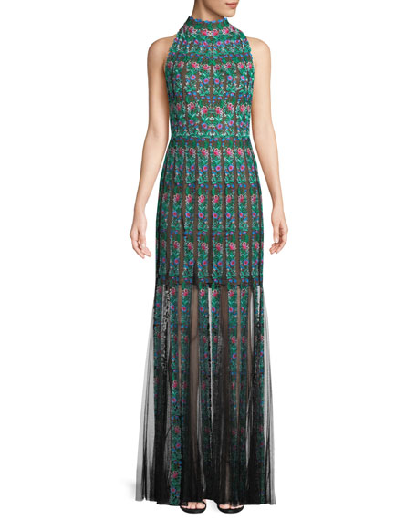 Tadashi Shoji Embroidered Sleeveless Lace Gown w/ Floral
