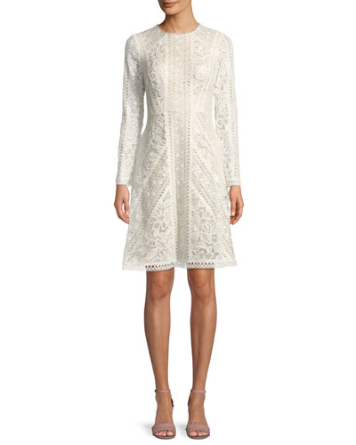 Crotchet Lace Long-Sleeve Dress