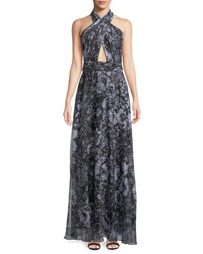 Crisscross Halter Chiffon Gown