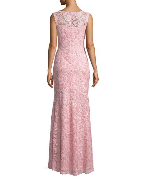 V-Neck Sleeveless Lace Appliqué Dress