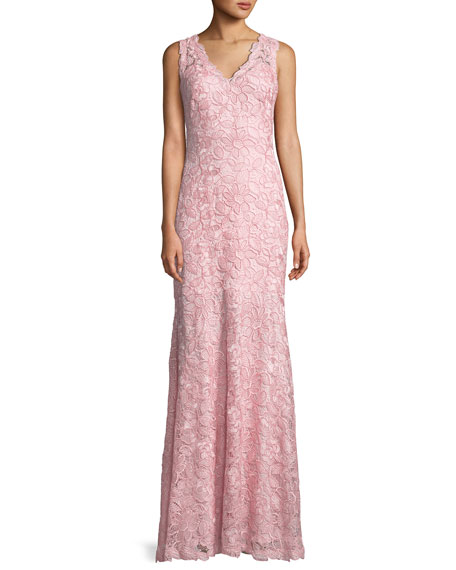 Tadashi Shoji V-Neck Sleeveless Lace Appliqué Dress