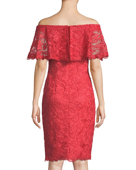 Popover Lace Ruffle Off-the-Shoulder Dress