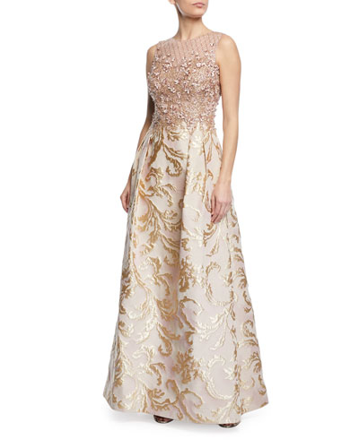 Bead and Jacquard Sleeveless Gown