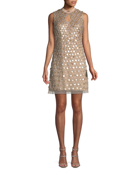 Aidan Mattox Embellished Sleeveless Keyhole Mini Dress